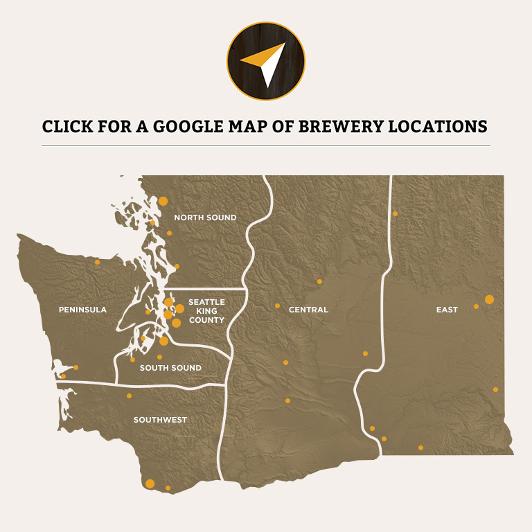regions map Washington Beer Breweries